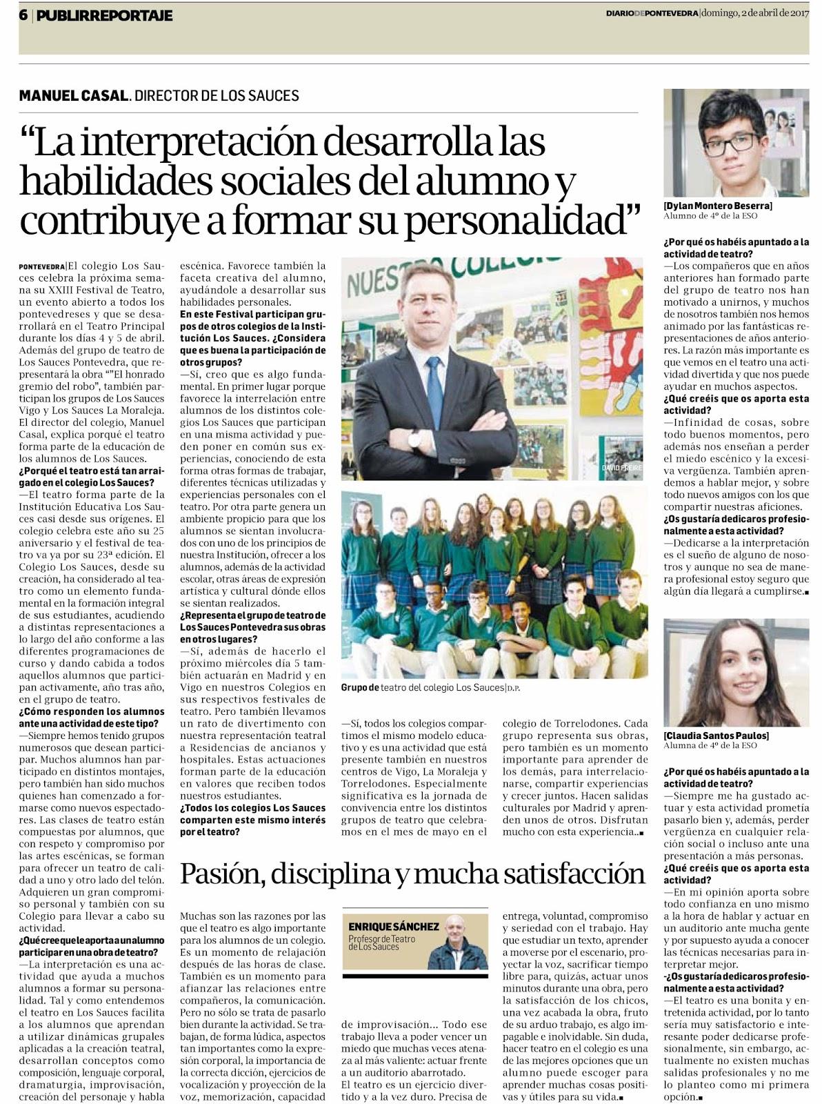 El Diario de Pontevedra publica un reportaje sobre el teatro en el Colegio Los Sauces
