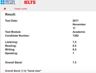 IELTS-Result_2017/11/11 L:7.5 R:8.5 W:6.5 S:7.0