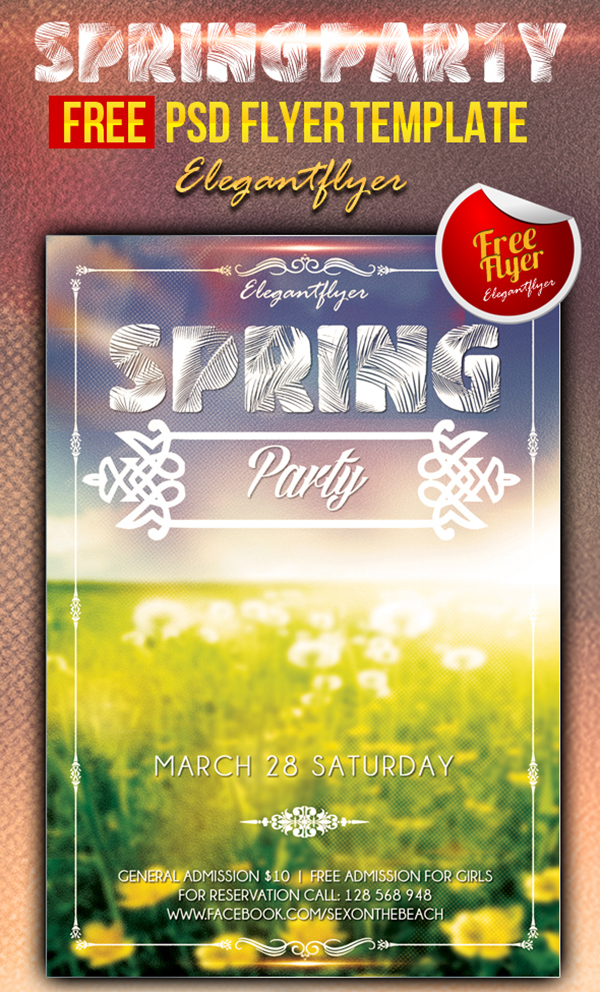 Spring Party   Free Psd Flyer Template  Download   Free