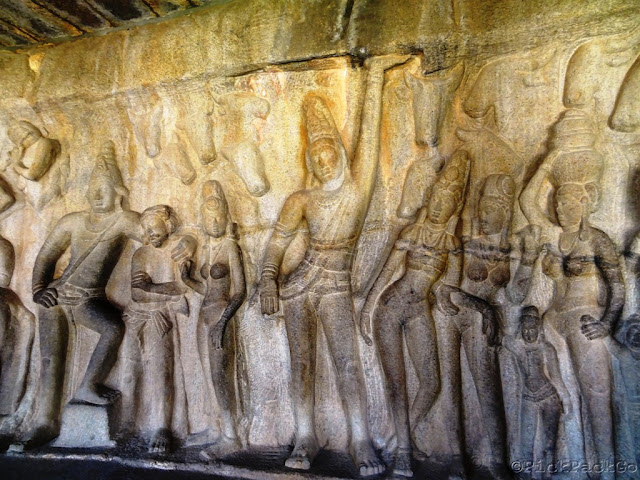 ancient stone carving of Krishna - The Krishna Cave Temple- Mahabalipuram