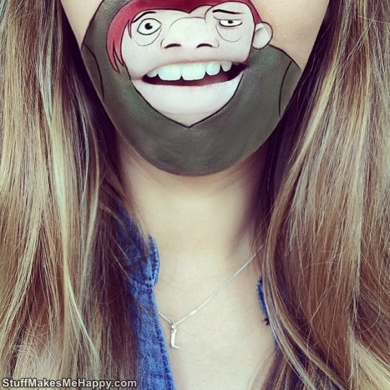 Make-Up Turns Her Lips Into Funny Cartoon Characters