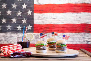 Picture of hamburgers and American flag