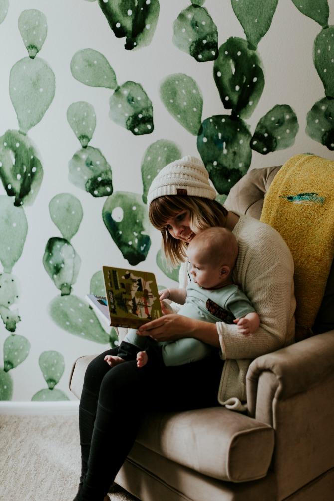 Designer cactus wallpaper