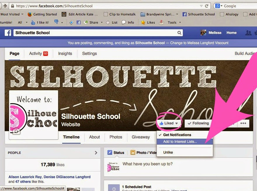 Facebook, Silhouette School Blog