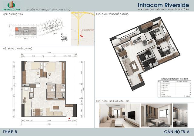 Thiết kế căn hộ 66m2 dự án Intracom Riverside Nhật Tân Đông Anh