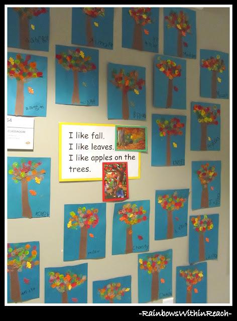 Fall Art Project Bulletin Board in Preschool via RainbowsWithinReach