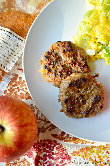 Apple maple breakfast sausage on a plate.