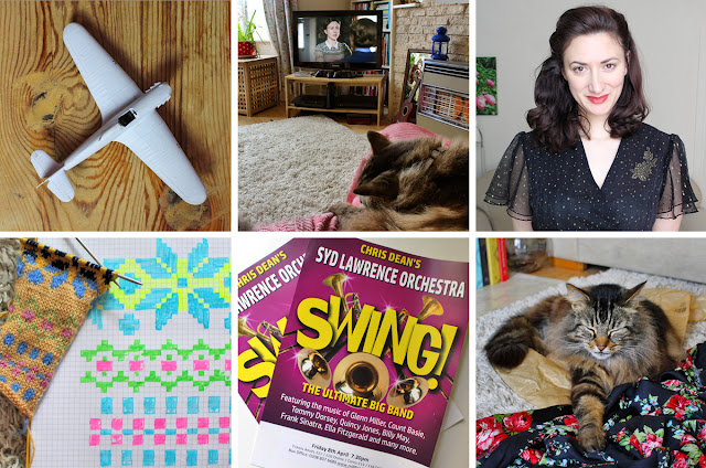 Wendy's Week - Swing & Swatching My Hurricane is progressing // Watching Home Fires with Beau // Getting ready to go out in my new 70's dress  // Swatching sweaters // Swing Syd Lawrence Orchestra // Fabric tester extraordinaire