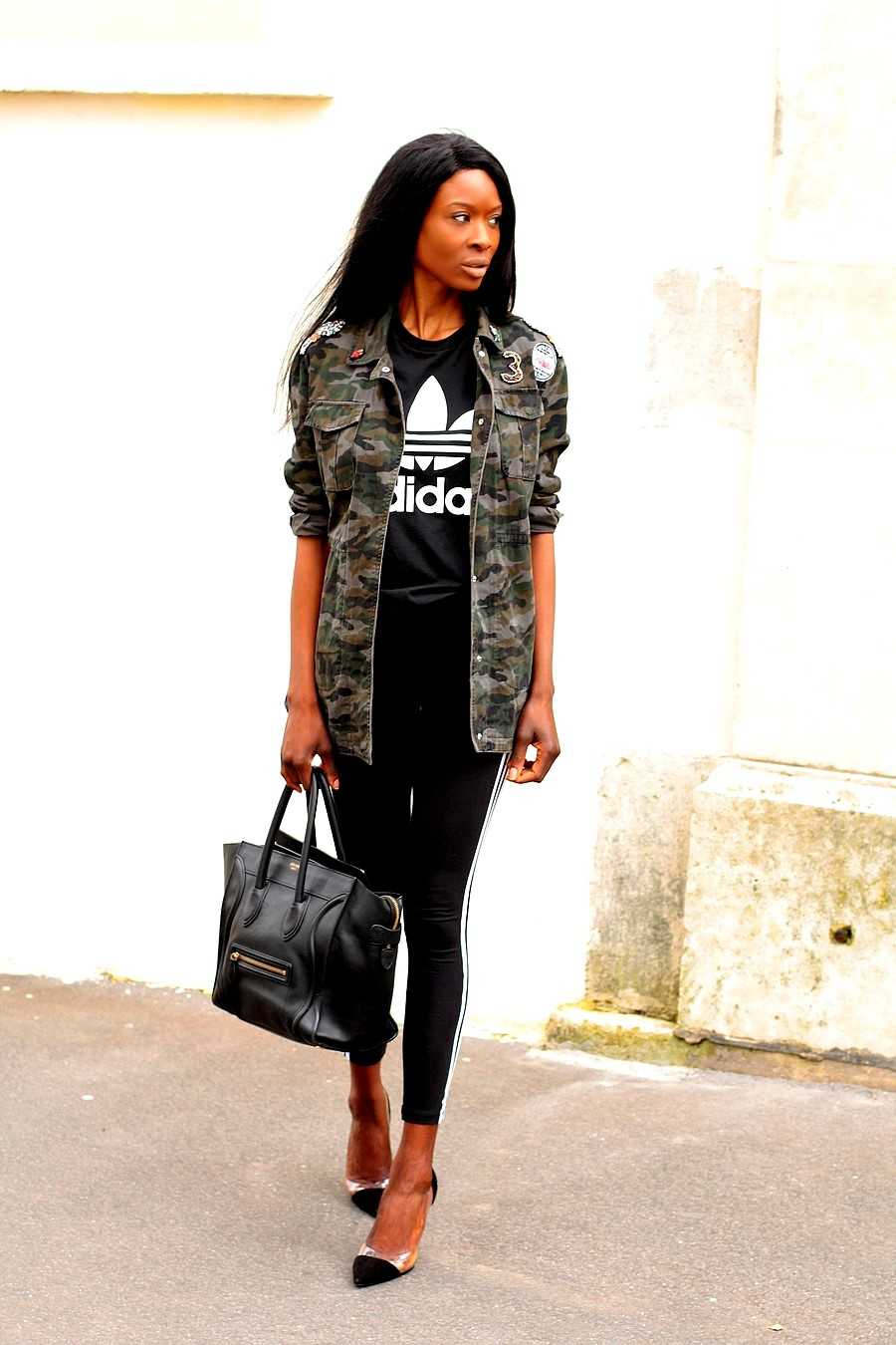 celine-mini-luggage-bag-camo-jacket-adidas-leggings-fashion-blogger