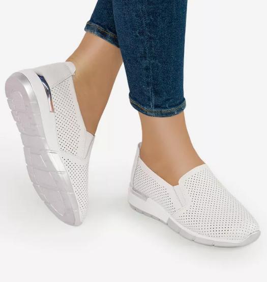 Pantofi casual albi de dama piele naturala ieftini moderni