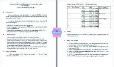 contoh laporan pelaksanaan unbk atau ujian nasional berbasis komputer