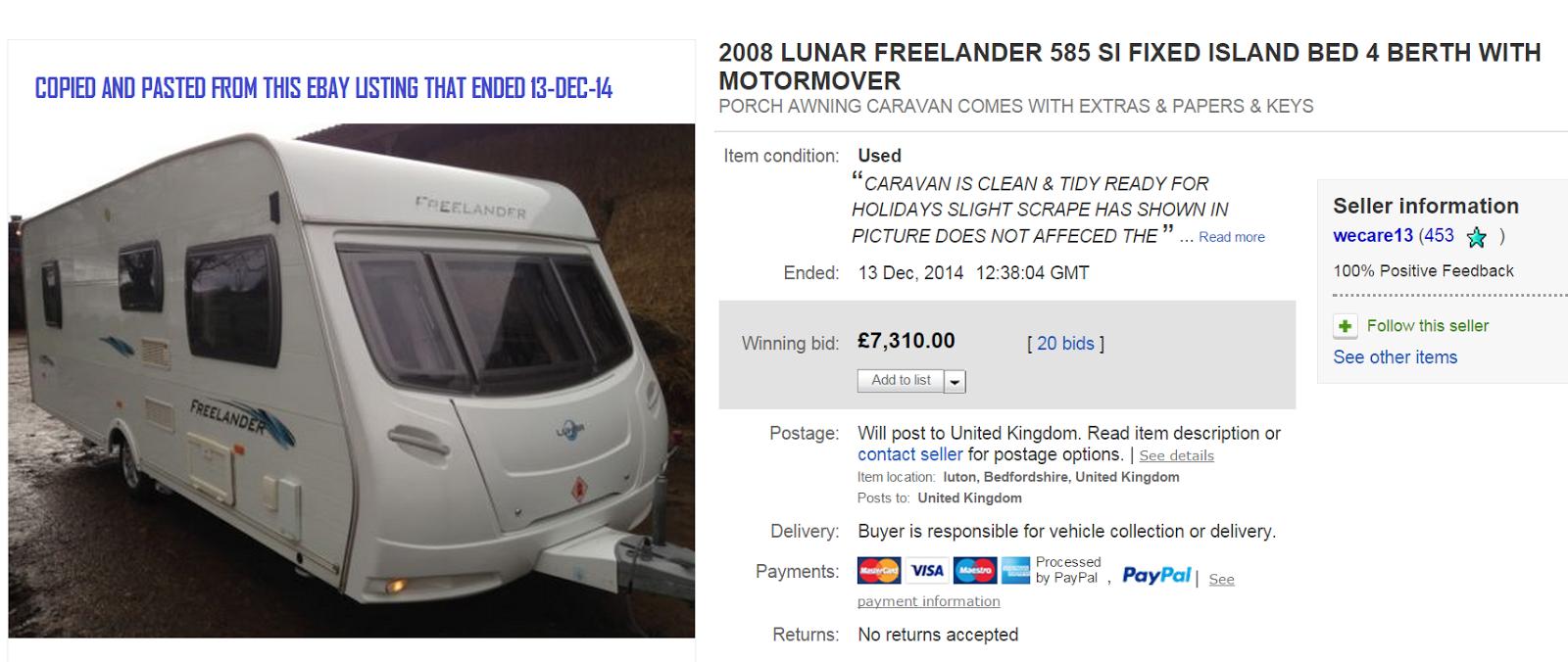Scam On Ebay 2008 Lunar Freelander 585 Caravan Fraud 12 Jan 15