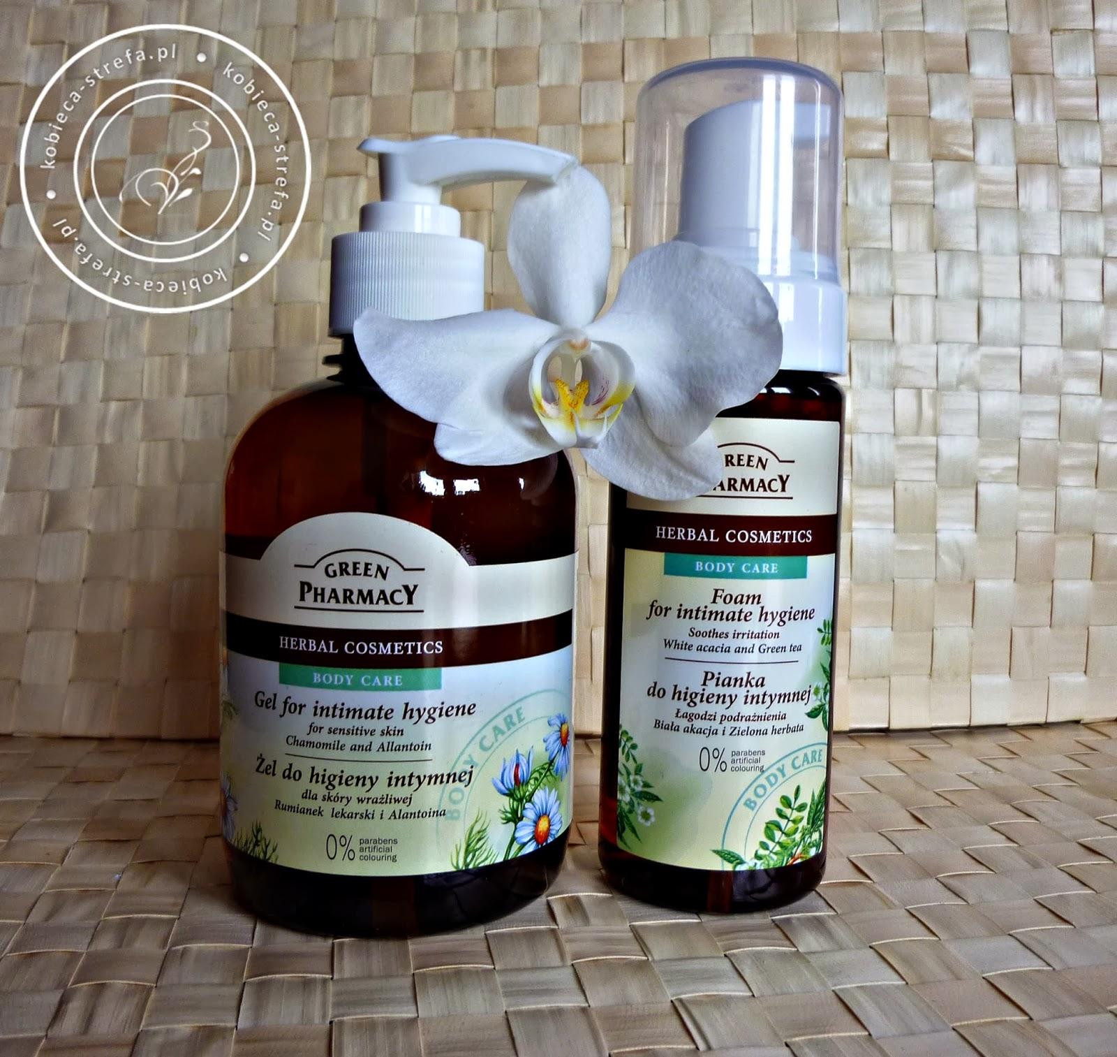 Green Pharmacy - pianka i żel do higieny intymnej - Recenzja porównawcza - pianka biała akacja i zielona herbata i żel rumianek lekarski i alantoina