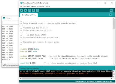 Fig. 1 - L'IDE di Arduino configurato per Arduino NANO Old Bootloader - Foto di Paolo Luongo