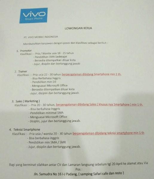 Lowongan Kerja Padang: PT. Vivo Mobile Indonesia April 2017