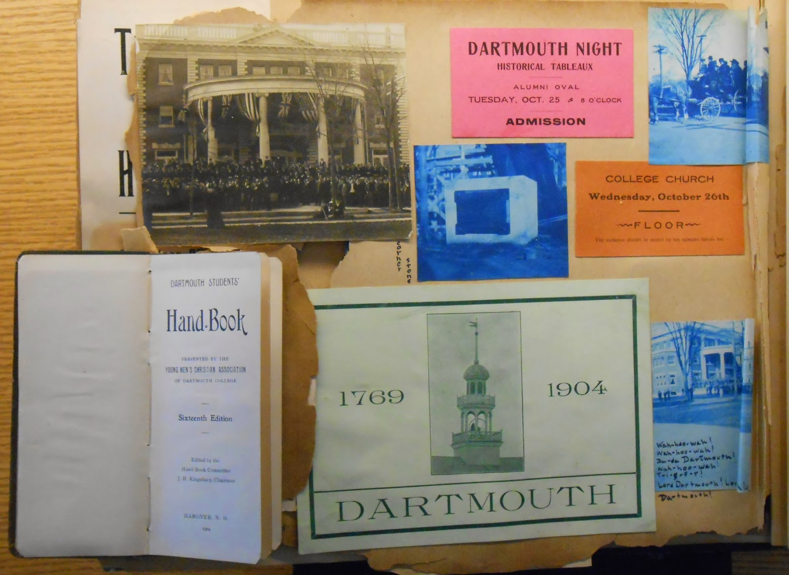 A selection of paper ephemera including an admission ticket to Dartmouth Night historical tableaux and a student hand-book.