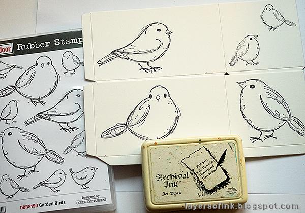 Layers of ink - DIY Watercolor Birds Pen Holder by Anna-Karin Evaldsson. Stamp the garden birds.