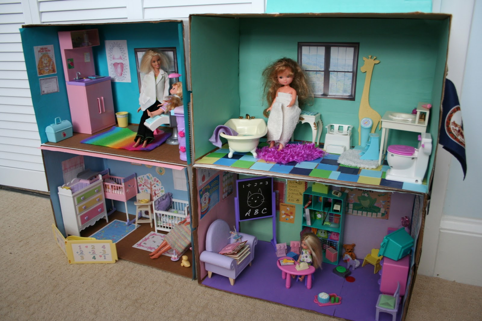 Landowner Garage In A Box : Pink and green mama diy barbie cardboard box house