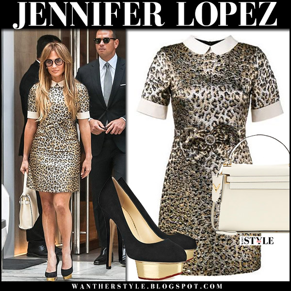 Jennifer Lopez in leopard print collar mini dress and black pumps charlotte olympia september 1 2017