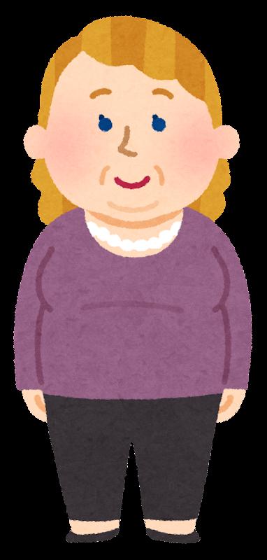 いろいろな太った西洋人のイラスト女性 かわいいフリー素材集