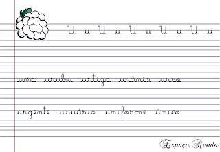 caderno de caligrafia letra U