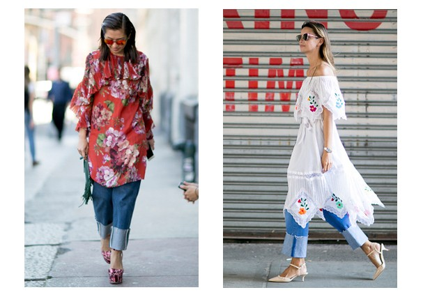 eb6d1ababe a calça jeans é ideal para acompanhar vestido mais trabalhado até mesmo de  vestido de noite
