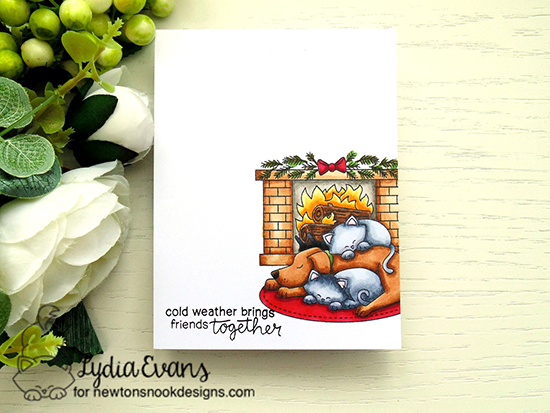 Dog and Cat by Fireplace Card by Lydia Evans | Fireside Friends Stamp Set by Newton's Nook Designs #newtonsnook