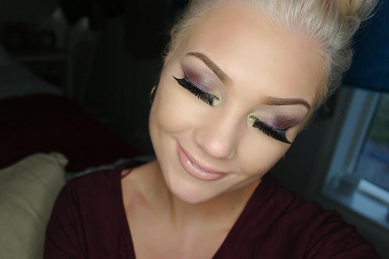 Smokey eye makeup look with long lashes