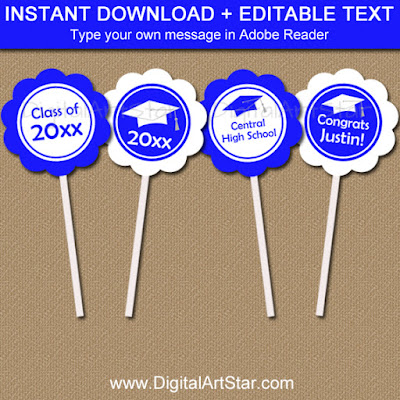 Printable graduation cupcake toppers with editable text in royal blue and white