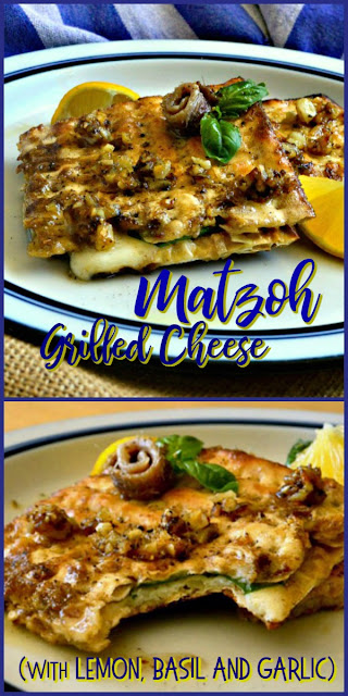 This Matzoh Grilled Cheese is made with a basil, lemon, garlic and anchovy sauce. It will knock your socks off and don't knock it until you've tried it! #grilledcheese #Passoverrecipes #sandwich www.thisishowicook.com