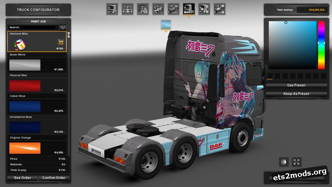 Hatsune Miku Skin for DAF Euro 6