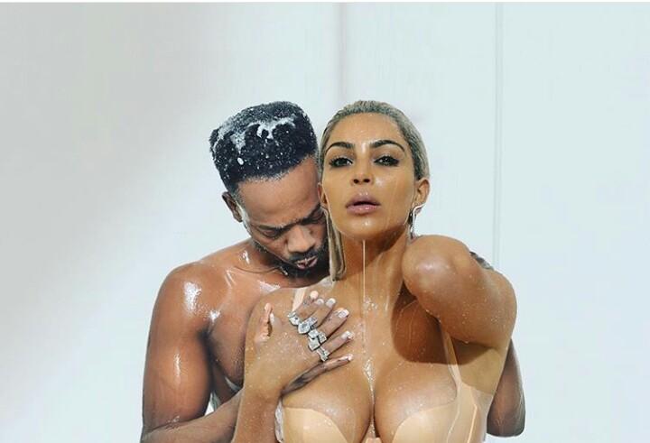 Adekunle Gold Goes Naked With Kim Kardashian Posses With Amber Rose Fans React