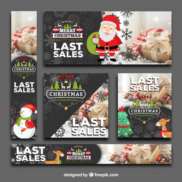 Cute pack of christmas sale banners Free Vector