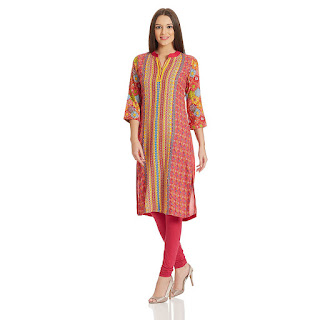 Cashback on Red Pink Rangriti Kurta by FashionDiya