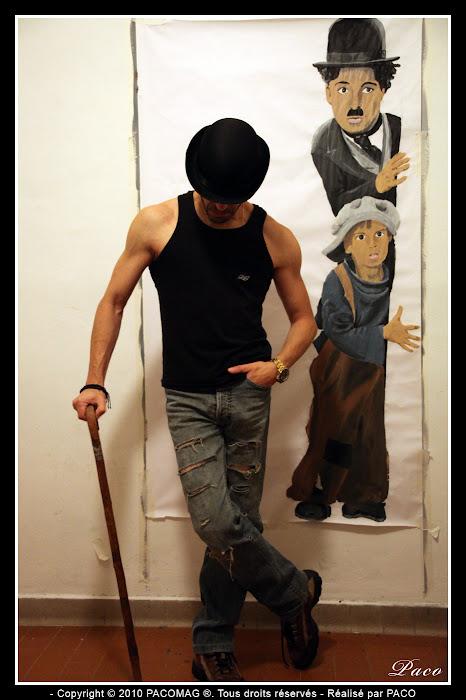 Street art Charlie Chaplin the Kid à Sedan par Paco