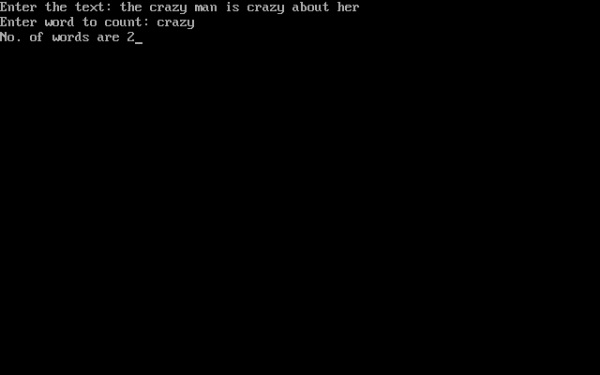 C program which reads a text and count all occurrences of a particular word