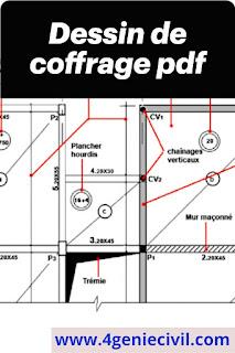 Cours de dessin de coffrage - Dessin technique de bâtiment.