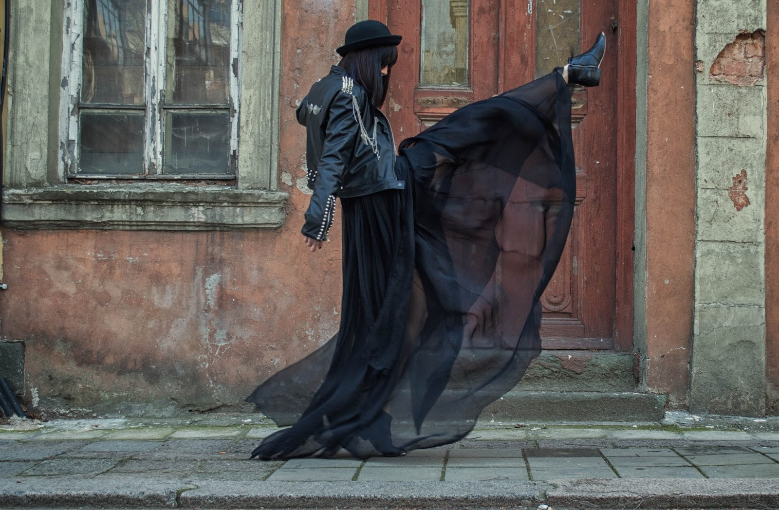 Black Leather Jacket, Tulle Skirt