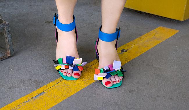 Kat Maconie, rainbow sandals, gina