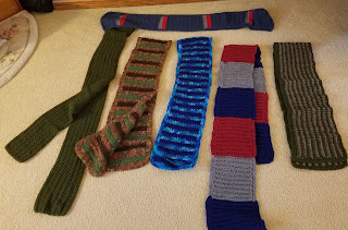 Crocheted Scarves, Solid and Striped