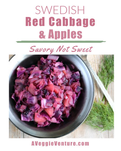 Swedish Red Cabbage & Apples ♥ A Veggie Venture, savory not sweet, a tradition at Christmas, adding welcome color and texture to a plate. Recipe, cooking tips, nutrition, WW Weight Watchers points included.