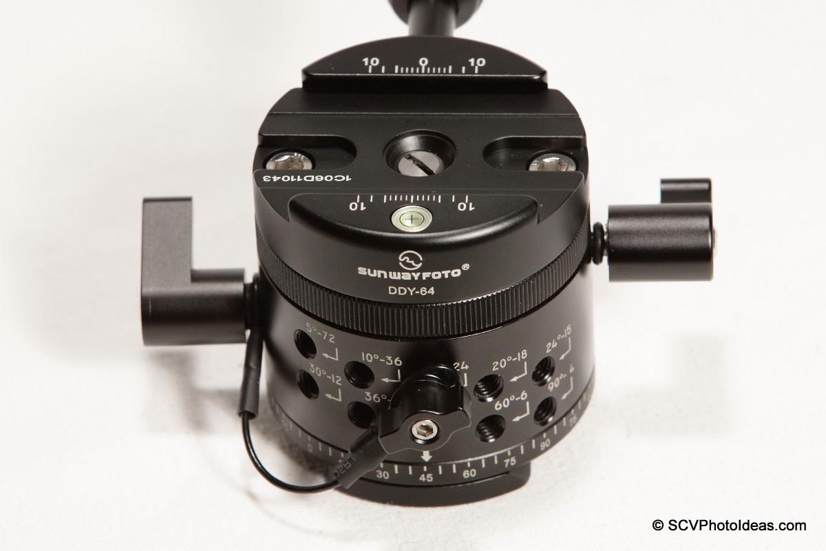 Sunwayfoto DDP-64MX+DDY-64 Detent interval holes & control knob