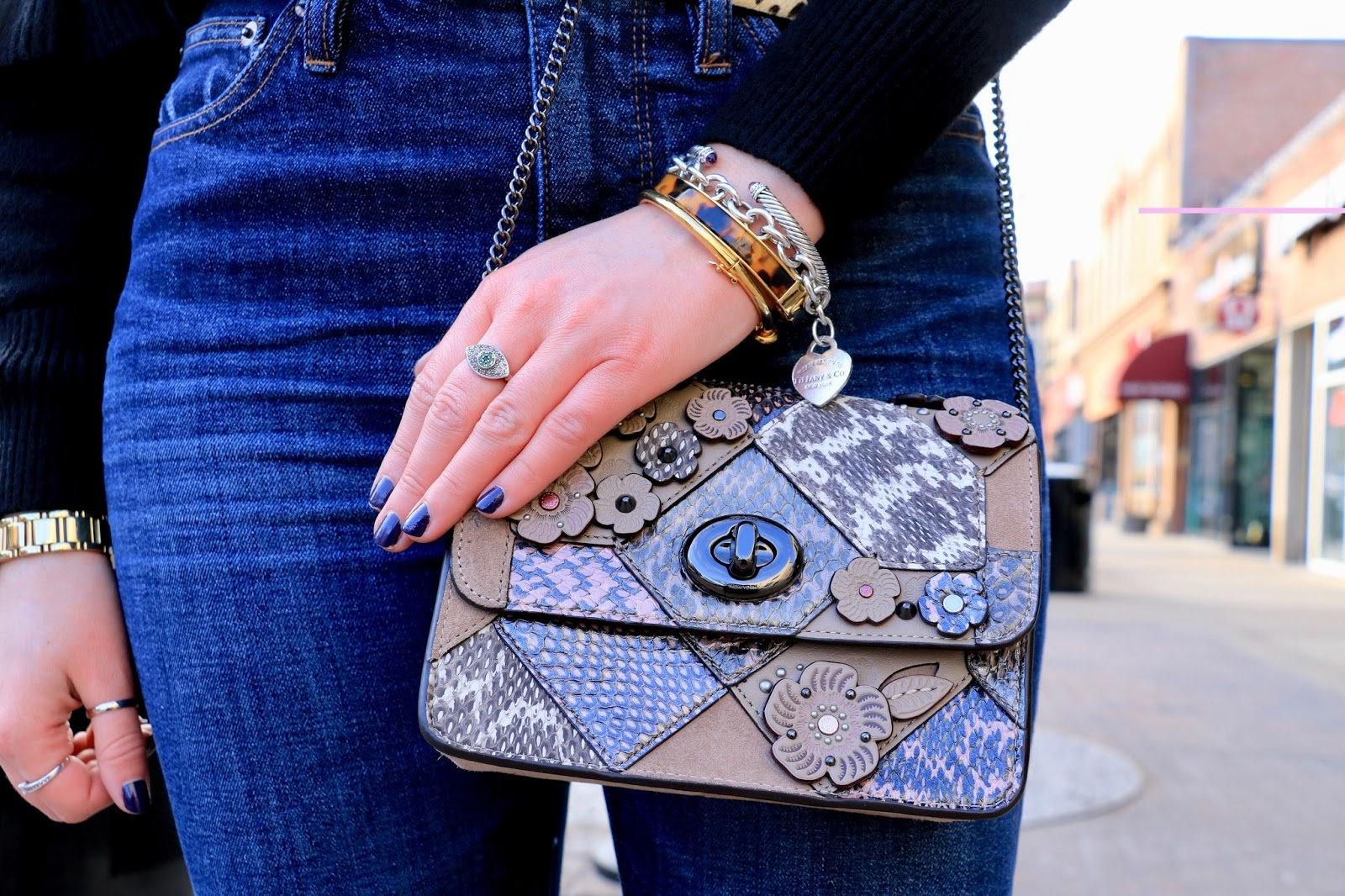 Nyc fashion blogger Kathleen Harper's floral Coach purse
