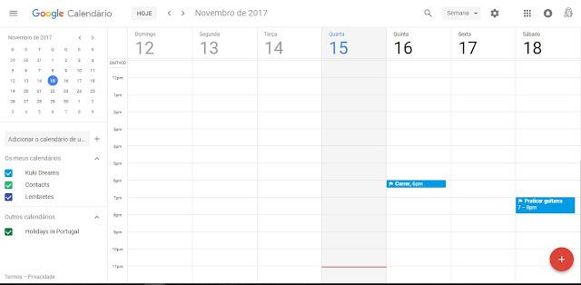 Apresentação do Calendário Google no computador