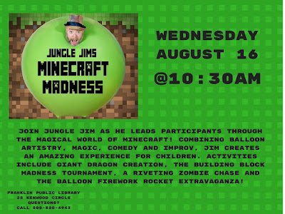 Franklin Public Library: Jungle Jim's Minecraft Madness, Weds - Aug 1