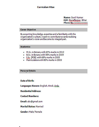 if you want this cv format simply mail us on hyderali33gmailcom and