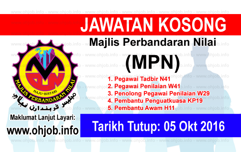 Jawatan Kerja Kosong Majlis Perbandaran Nilai (MPN) logo www.ohjob.info oktober 2016