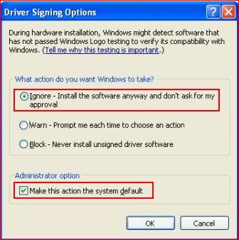Driver Signing Check windows xp
