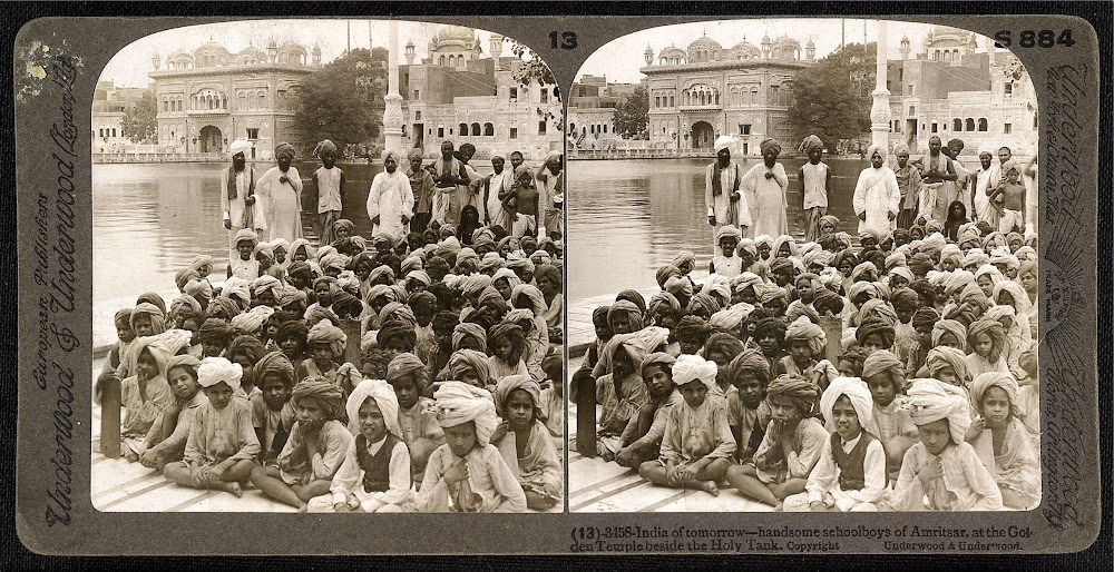 Schoolboys at the Golden Temple at Amritsar in the Punjab - c. 1903