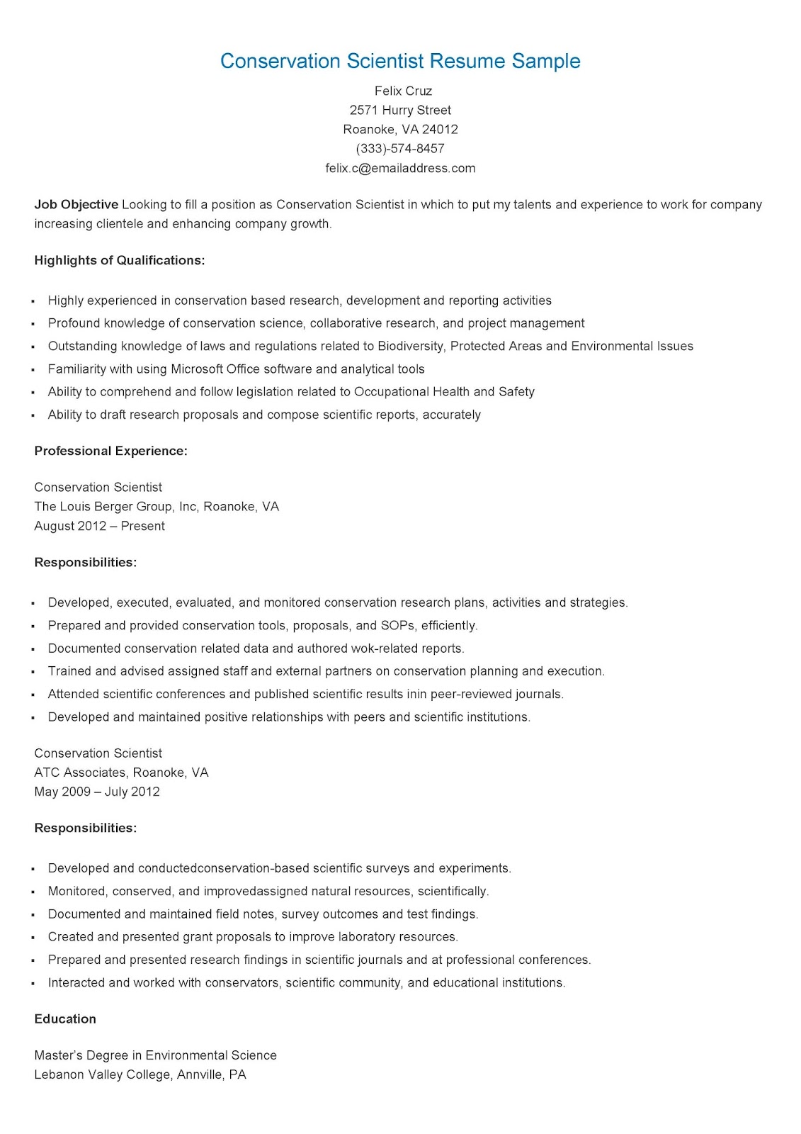 Resume Samples Conservation Scientist Resume Sample